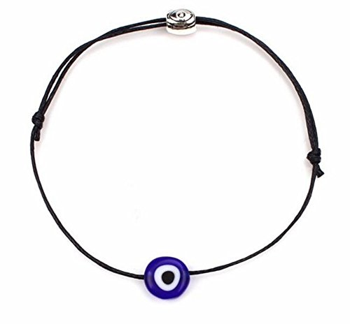 Luck Blue Evil Eye Bracelet - COLORFUL BLING String Kabbalah Bracelet Braided String with Rotating Evil Eye- Jewish Amulet Pendant Jewelry for Success Protection Lucky - Red