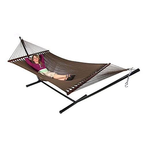 Garden and Outdoor Sunnydaze Polyester Rope Hammock, Large Double Wide Two Person with Spreader Bars – for Outdoor Patio, Yard, and Porch… hammocks