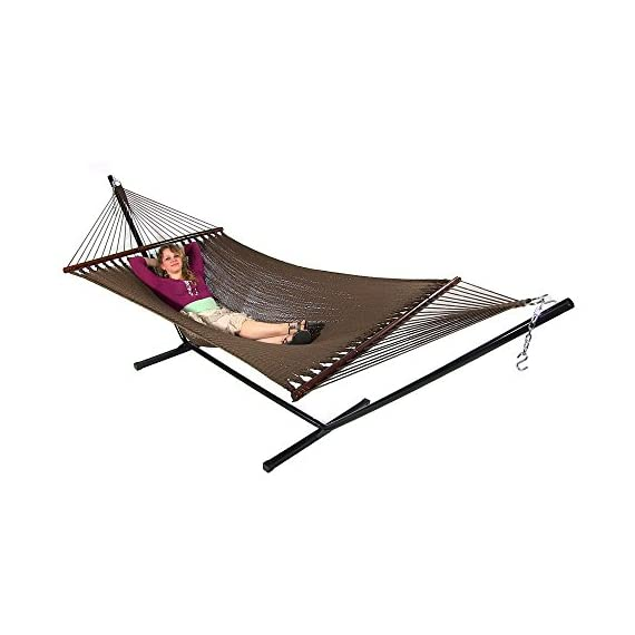 Sunnydaze Polyester Rope Hammock, Large Double Wide Two Person with Spreader Bars - for Outdoor Patio, Yard, and Porch - Mocha - PERFECT SIZE: Large tree hammock is 55 inch wide x 133 inch long, weighs 19 pounds. Bed is 55 inch wide x 88 inch long, and has a weight capacity of 600 pounds. VERSATILE USE: Portable hammock can be tied between trees, poles, or be used with a 12-foot stand (Stand not included). Can also be used as a replacement hammock. COMFORT AND STYLE: Outdoor hammock is made from tightly woven soft spun polyester rope, which is superior and longer lasting than cotton. The wood spreader bars allows for extra stability and style. - patio-furniture, patio, hammocks - 419ESJOLF5L. SS570  -