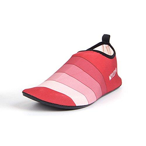 neeiors Unisex Barefoot Aqua playa nadar zapatos de agua de secado rápido Slip On Zapatos Piel calcetines rojo