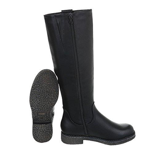 Zapatos para mujer Botas Tacón ancho Botas clásicas Ital-Design Negro