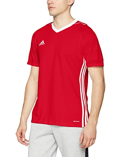 adidas Tiro 17 Short Sleeve Jersey T-Shirt Training Top (S, Red)