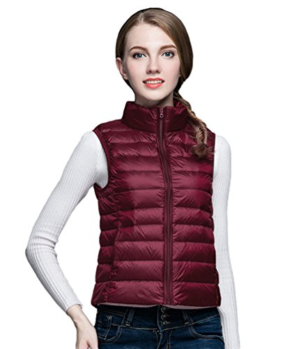 Short Purple Collar Lightweight Red Stand Jacket Outwear Gilet Down Women's Fit Packable Coat Slim Vest Baymate Jacket ZqwHxTY4f