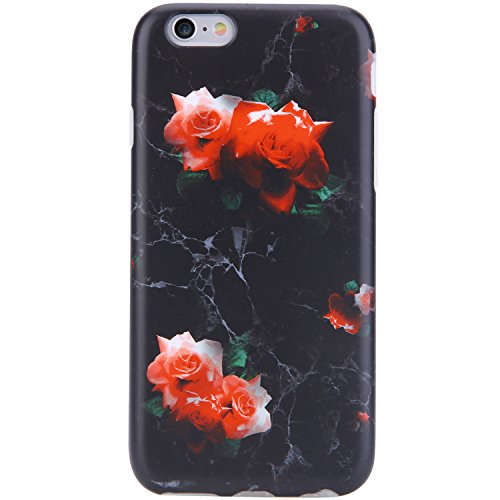 (VIVIBIN iPhone 6 Case,iPhone 6s Case,Cute Black Marble Red Roses for Women Girls Clear Bumper Best Protective Soft Silicone Rubber Matte TPU Cover Slim Fit Best Phone Case for iPhone 6/iPhone 6s)
