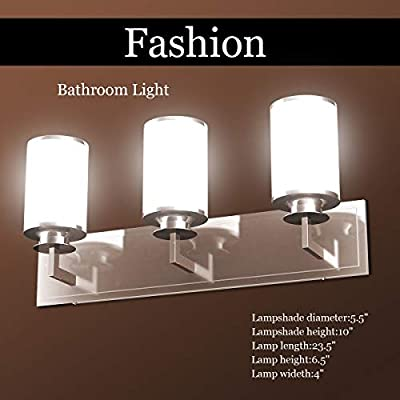 """MD Group 23.5"""" 3-Light LED Vanity Fixture Brushed Nickel Wall Sconces"""