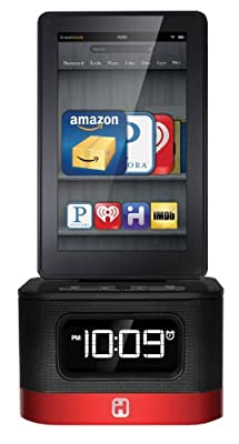iHome iK50B SMARTDESIGN Space Saver FM Stereo Alarm Clock/Charger for Kindle Fire, Black by Sound Design, Inc.