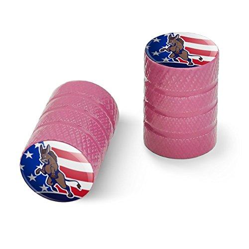 オートバイ自転車バイクタイヤリムホイールアルミバルブステムキャップ - ピンク怒っている民主党ロバの政治アメリカの旗