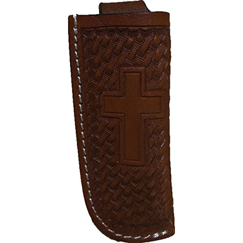 Stamped Basketweave and Cross Belt Pocket Knife Sheath