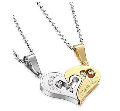 da8966b04d Potok stainless steel mens womens couple necklace friendship puzzle cz love  matching heart pendants, 22 inch.: Amazon.co.uk: Jewellery