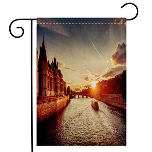 BEIVIVI Creative Home Garden Flag Dramatic Sunset Over River Seine in Paris France with Conciergerie and Cruise Boats Welcome House Flag for Patio Lawn Outdoor Home Decor (Best River Boat Cruise In Chicago)