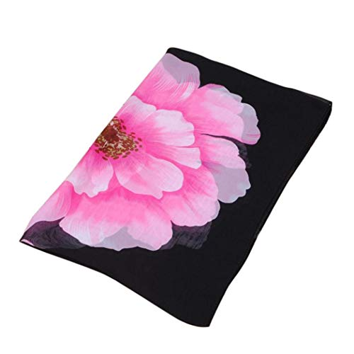 426JingYu Floral Scarves for Women,Lightweight Wrap and Shawls Girls Fashion Chiffon Scarves Neck Wrap Shawl Black
