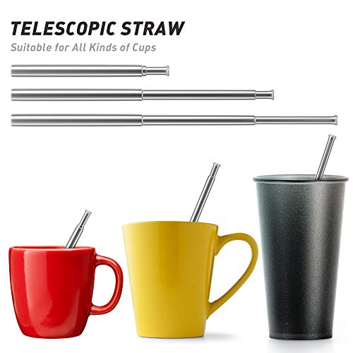 Reusable Collapsible Straws Folding Stainless Steel Metal Straw Food-Grade Drinking Straws (P-Black/Silver)