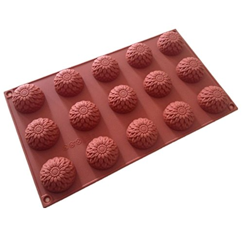 Allforhome(TM) 15 Cavities Sunflower Silicone Chocolate Cany Mold Handmade Soap Mold Resin Clay Craft Art DIY Mold