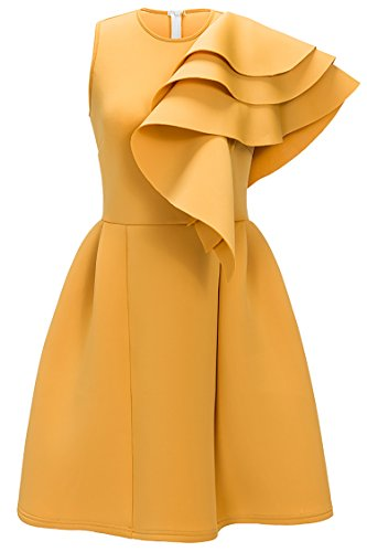 Uhnice Women's Ruffle One Shoulder Bodycon Party Club Cocktail Evening Dress (Large, Yellow) (Party Cocktail Wear)