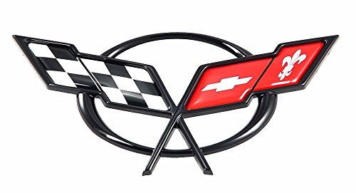 Rear Bumper Emblem (Crossed Flag Emblem Fitted For 1997-2004 Chevrolet Corvette C5 fits Front Hood or Rear Bumper)