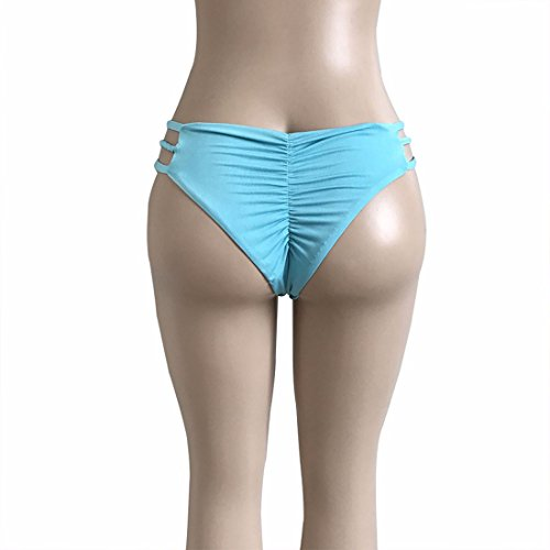 QIYUN.Z Mujeres De Color Sólido En Forma De V Bikini Triangular De Natación Bragas Tanga Azul