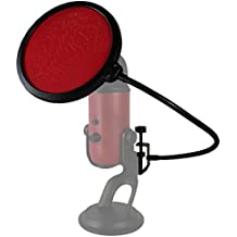 HDE 6 Inch Pop Filter Shield Studio Microphone Wind Screen with Stand Clip for Blue Yeti Microphones and USB Condenser Mics (Red)