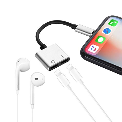 Dual Headphone Charger Splitter Adapter, Vhcilxi Best Connector for iPhone X (10)/ 7/ 7plus/ 8/ 8plus, Music/Volume Control & Telephone Calls Supported