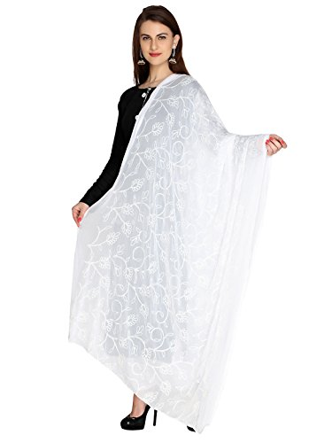 Dupatta Bazaar Woman's Embroidered White Chiffon  Chunni,Dupatta, Stole with Lace Border
