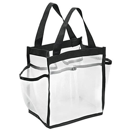 (InterDesign Water-Resistant Tote for Bathroom Shower, College Dorm, Garden, Beach - Nylon/Mesh, White/Black )