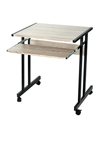 Black / Grey Oak Finish Mobile Computer Desk Table Laptop Student Workstation Home Office Caster Wheels with Pull-out (Black Finish Metal Computer)