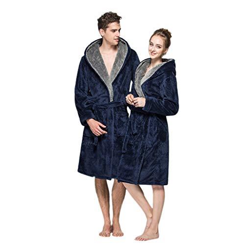 Clearance Men Women Couple Warm Plush Shawl Bathrobe Lengthen Thicken Hooded Homewear Sleepwear Kimono Robe Coat (Navy, Large)