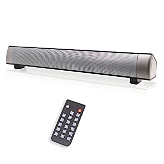 Wired & Wireless Soundbars for TV/PC, Outdoor/Indoor Bluetooth Stereo Speaker with Remote Control, Home Theater Sound bar with Built-in Subwoofers for Phones/Tablets (Grey-1)