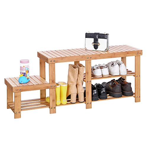 Upholstered Bench Chocolate - SONGMICS Bamboo Shoe Bench  Entryway Storage Rack with High and Low Levels for Adult and Child  ULBS120N
