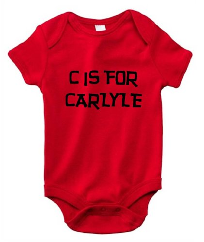 C IS FOR CARLYLE / Hurry Up - Name-series - Red Baby One Piece Bodysuit - size Small (6-12M)