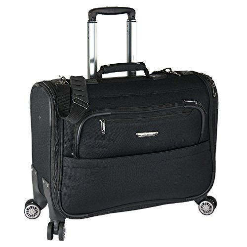 Traveler's Choice 21-inch Carry-on Softside Durable EVA Molded Ballistic Fabric 8-Wheel Spinner Garment Bag Luggage Suitcase, Black ()