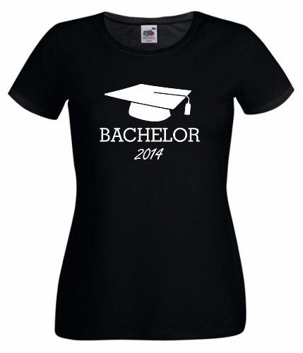 Frauen/Girlie T-Shirt Motiv Bachelor 2014 schwarz XXL
