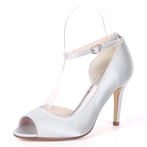 fiesta Sandalias Silver Peep Tacones Boda L De Plataforma Bombas Zapatos Raso Mujer La Nupcial Para Buckle Tarde Gatito yc Toe 6Cqf4w1
