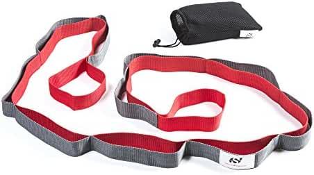 Yoga Strap for Stretching – Stretch Band with 12 Loops by Sport2People – Recommended Physical Therapy Equipment - Carry Bag & Workout Instruction Included