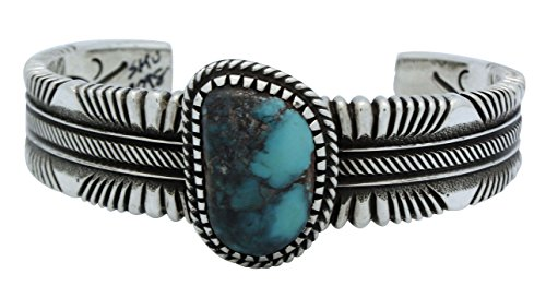 Ron Bedonie, Bisbee Turquoise, Heavy Flat Wire Cuff, Navajo, Signed, 6.5 (Bisbee Turquoise Bracelet)