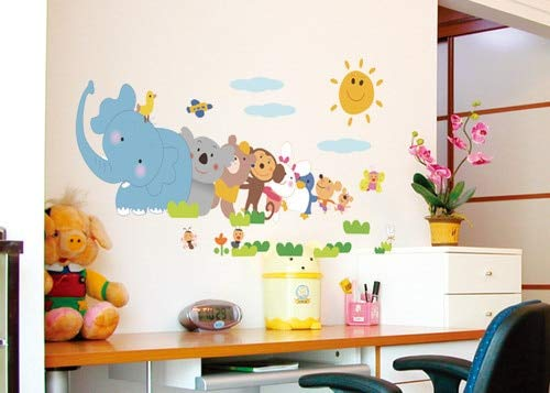 Diy Elephant Monkey Animal Zoo Room Wall Sticker Paper Decor Decal - Wall Stickers (Zoo Lamp Baby)