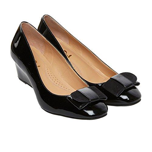 Dal Black Camden Van Womens Patent Shoes Wedge Heel Court Patent d1pHnWpx