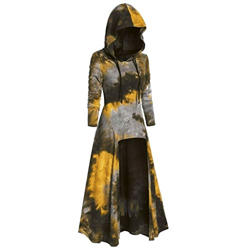 〓COOlCCI〓Women Renaissance Costumes Hooded Robe Drawstring Tie Dye Vintage High Low Long Hoodie Dress Cloak Cosplay Green