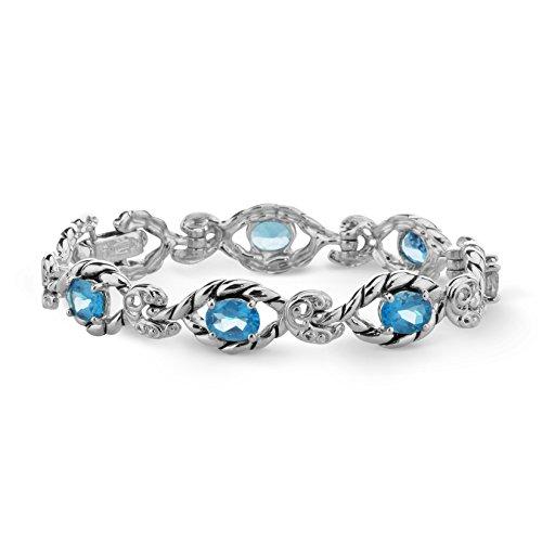 Carolyn Pollack Sterling Silver Blue Topaz Gemstone Link Bracelet - Medium