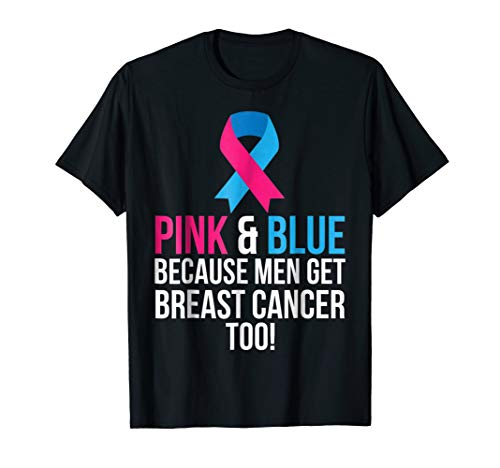- Pink And Blue Men Breast Cancer Awareness Shirt