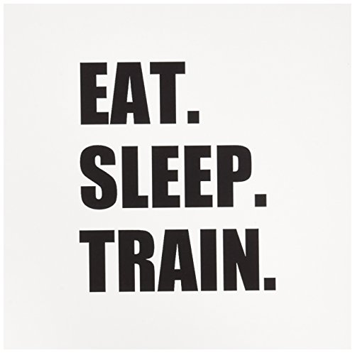 3dRose Eat Sleep Train Black Text Training Exercise Gym Marathon Practice Greeting Cards, Set of 6 (Marathon Greeting Cards)