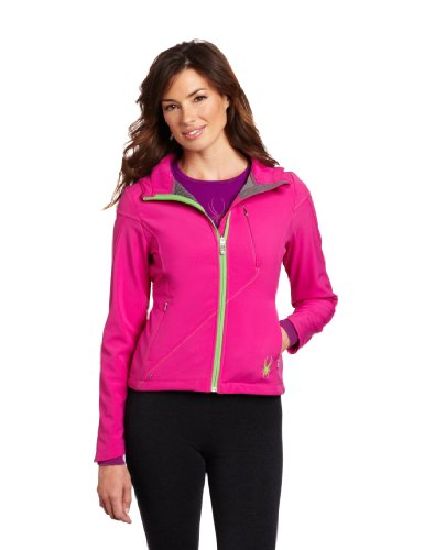 Spyder Women's Courmayeur Softshell Jacket, Sassy Pink/Green Flash, Large (Spider Sassy)