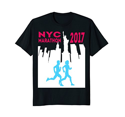 Mens NYC Marathon 2017 shirt with Manhattan Blue Runners Small ()