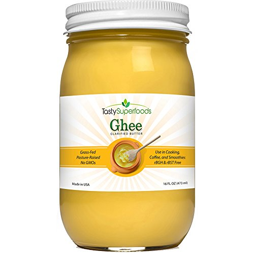 Price comparison product image Tasty Superfoods Grass Fed Organic Ghee - Glass Jar of Pure,  Unsalted Clarified Butter from Grass-Fed Cows - Best Healthy Oil for Indian Cooking,  in Coffee,  or for diets like Paleo and Whole30 (16oz)