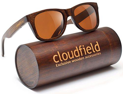 Wood Polarized Sunglasses Wayfarer Style - 100% UV Protection, Bamboo Wooden Frame