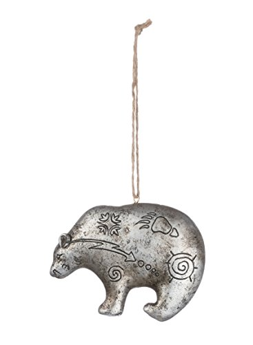Grizzly Bear Ornament - Silver Finish Grizzly Bear 3 inch Resin Christmas Ornament
