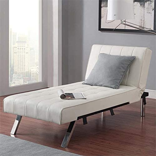 Pemberly Row Faux Leather Chaise Lounge in Vanilla