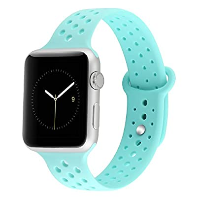 YiJYi Apple Watch Bands 38mm 42mm,Soft Silicone Strap Replacement Wristband for iWatch Apple Watch Series 1/2/3 (42mm, 1.Teal)