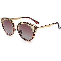 WU-Sunglasses Unisex Diseño Hueco metálico Marco Completo Ojos de Gato Gafas de Sol para Mujeres Hombres Protección UV para Conducir al Aire Libre Vacaciones Playa de Verano (Color : Marrón)