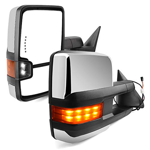 YITAMOTOR Towing Mirrors compatible for Chevy GMC, Power LED Turn Signal light Reverse Light Manual Folding Tow Mirrors, for 1988-1998 Chevy GMC C/K 1500 2500 3500, 2000 Yukon V8 5.7L