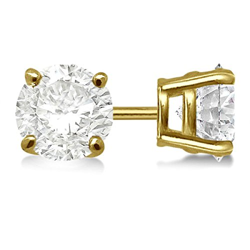 Round Diamond Stud Earings 14k Yellow Gold for Women (H-I, SI2-SI3) Solitaire Earrings 2.00ct.